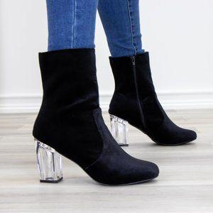 Black Velvet Above Ankle Clear Heel Bootie